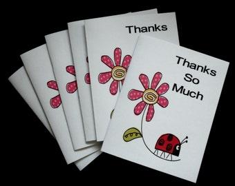 LADY BUG Thank You Notes Set of 12