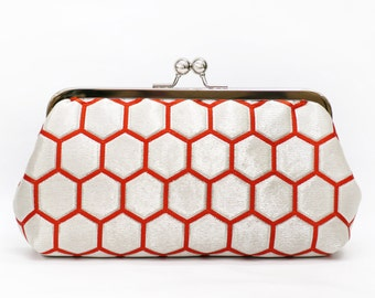 Vintage Japanese Obi Clutch Purse | Silver Vermillion Hexagon