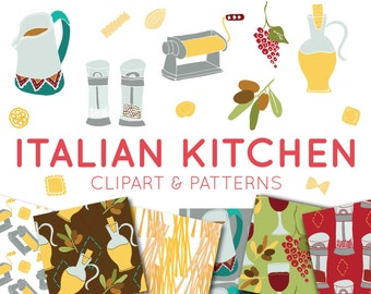 Food Clipart & Digital Paper - Italian Food Clipart - Seamless Patterns scrapbooking, invitation design, commercial, background Clip art