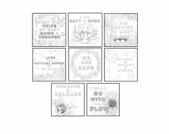 "Labor & Birth Affirmation 7""x7"" Coloring Prints - set of 8"