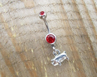 Pig Belly Button Ring, Silver Belly Ring, Pig Navel Ring, Animal Navel Piercing, Body Jewelry.