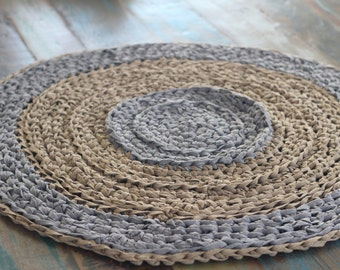 Crochet rug- stone and wood