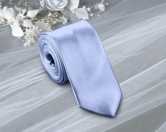 Satin Serenity Skinny Tie . Solid Serenity Wedding Ties . Serenity  Neckties for Men . Groomsman Ties