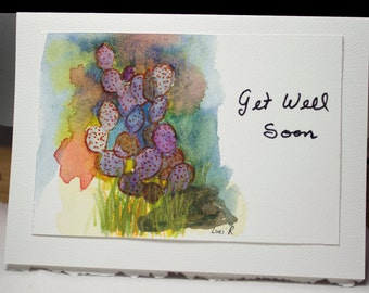 Greeting Card, Get Well Soon, Blank Card, Original Watercolor Card, Hand Painted Card, Colorful Cactus