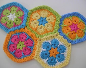 INSTANT DOWNLOAD African Flower hexagon and African Flower Star and Square 3 for 1 pattern