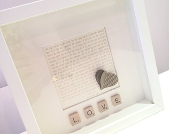 Personalised Wedding Gift - Photo Frame with Lyrics or Vows