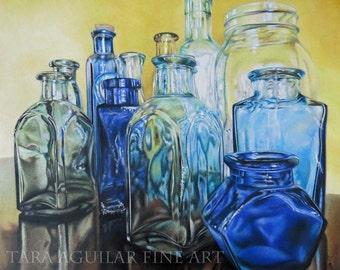 Colored Pencil Drawing Art Print, Photorealism Art, Colored Pencil Glass Drawing, Art Print, Still Life Art Print
