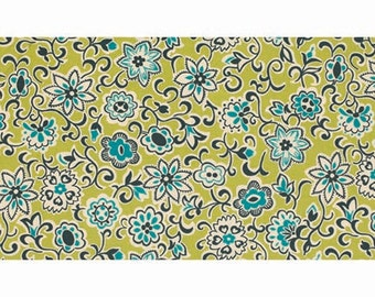 SALE Denyse Schmidt - Ansonia - Floral Paisley in mossy green blue brown quilting cotton freespirit