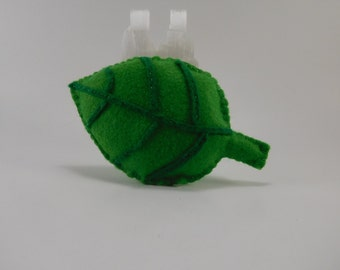 Handmade green leaf cat toy filled with organic catnip