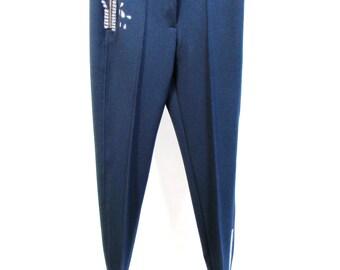 Blue chiffon crepe pants