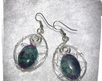 Silver plated copper earrings with multicolored striped Agate