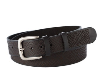 Real-leather belt-with ancient Latvian symbols-metal buckle-hand crafted-gift