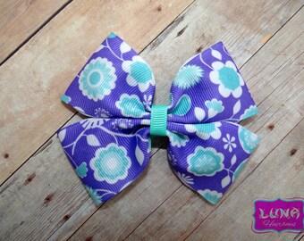 purple pinwheel hair bow, flower hair bow, flower pinwheel hair bow