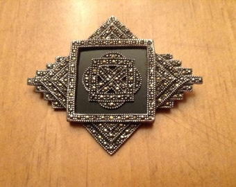 Vintage Art Deco Sterling Black Onyx and Marcasite Brooch