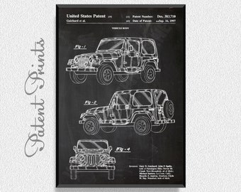Jeep Patent Print, Automobile Art, Garage Decor, Man Cave Decor, Boys Room Wall Decor, Jeep