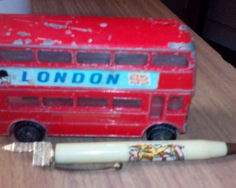 London Souvenirs -  London Bus and a souvenir pen with a Big Ben top