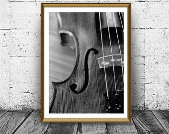 Violin Poster, Black and White Fiddle Print, Printable Photo, Musical Instrument Photo, Close Violin Poster, Modern Cello Print, Strings