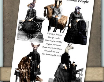 Animal People Digital Collage Sheet