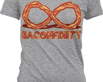 Baconfinity, I Love Bacon, Bacon Forever, Bacon Strip Juniors T-shirt, NOFO_00153