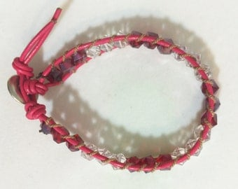 Red and Clear Glass Beads on Pink Leather Wrap Bracelet