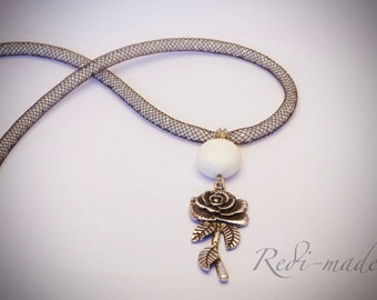 Necklace - black and white stardust with a rose and white coral pendant