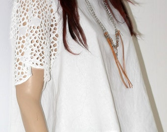 Linen top, White linen blouse, Linen top white
