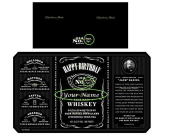 Personalized Happy Birthday Jack Daniels Bottle Label 1 Litre Actual Size Edible Icing Sheet Cake Topper Uncutted