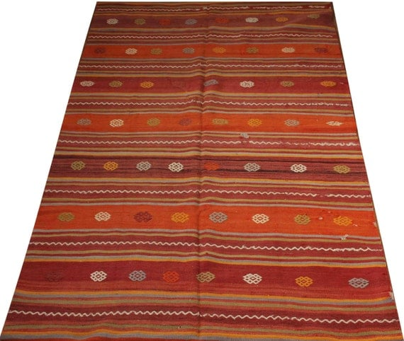Items similar to bohemian kilim rug gift for mom orange for Country style kitchen rugs