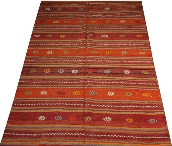 Items Similar To Bohemian Kilim Rug Gift For Mom Orange