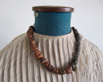 pit fired ceramic bead necklace