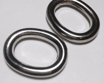 "2 Silver Oval Rings- 1.5"" x 3.25"""