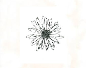 Custom Illustrated Daisy Tattoo Design