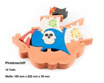 Wooden puzzle pirate ship