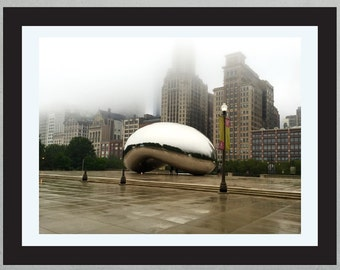 The Bean in Fog, Cloud Gate, Millennium Park, Chicago, United States.  Rainy Day, Skyline, Mirror Black and White, City Life. Free Shipping!