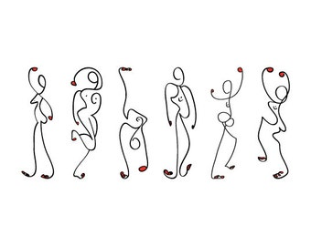 Zeefdruk met titel Dansende Dames