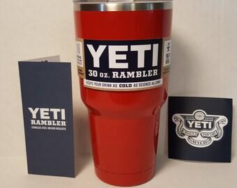Powder Coated Authentic Yeti Rambler 30oz or 20oz - Red