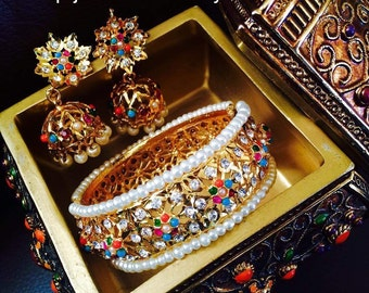 Hyderabadi bangle and earring set
