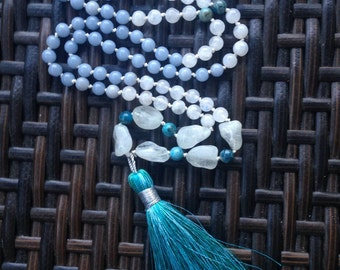 Handmade one of a kind Angelite Tassel Necklace