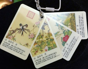 Collection of the National Palace Museum Taiwan-Souvenir Key Chain with Art Work 4 Cards