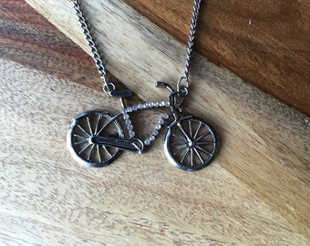 Bike Necklace with Rhinestone Accents