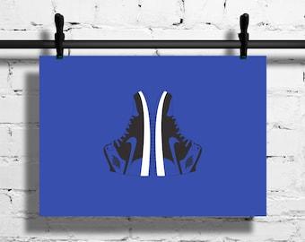 Nike Air Jordan 1 Royal Poster – 1985 – Sneaker Poster – A4 - A3 – Digital – Royal Blue – Black – Art – Sneaker - Basketball - Peter Moore