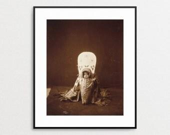 Edward Curtis Print - Native American Print - Native American Art -  Nez Perce Baby - Wall Art -  Natie American Baby - Cradleboard - Photo