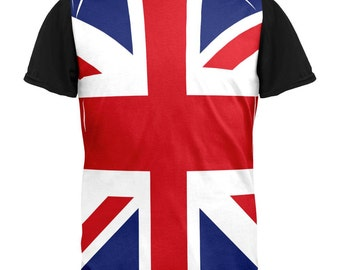 British Flag Union Jack All Over Mens Black Back T Shirt