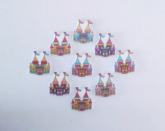 Wooden princess castle buttons. Crafts-sewing-embellishments-cards-scrapbooking-cabochon-flatbacks