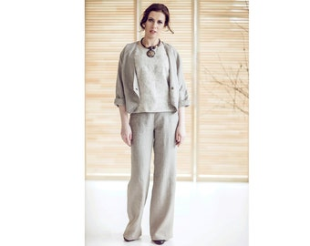 Women linen set - Two piece set - Linen women suit - Elegant summer costume - Linen woman pants - Linen woman jacket - EN-26/2