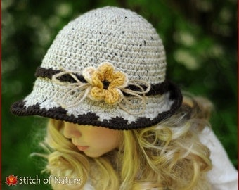 Crochet Hat PATTERN - The Laurel Brimmed Hat with a Flower (Toddler to Adult sizes - Girls) - id: 16026