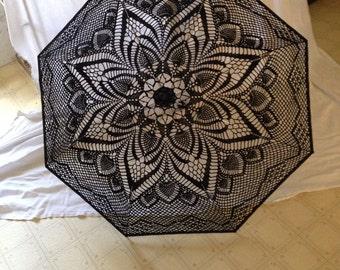 Black crochet parasol / umbrella