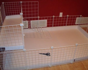 "Guinea Pig Cage Extra 14"" x 14"" White Wire Grid Panel 17 Panels and 20 Connectors Rabbit Hedgehog"