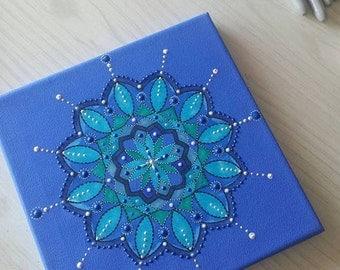 Blue Mandala Painting on Canvas