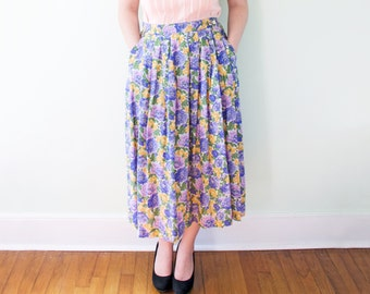 Floral Midi Skirt 80s Purple Green Yellow Spring Summer Mid-length Retro
